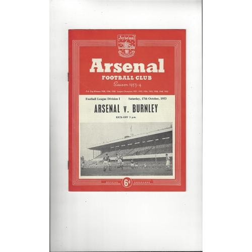 1953/54 Arsenal v Burnley Football Programme