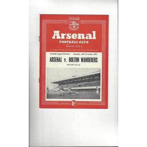 1953/54 Arsenal v Bolton Wanderers Football Programme