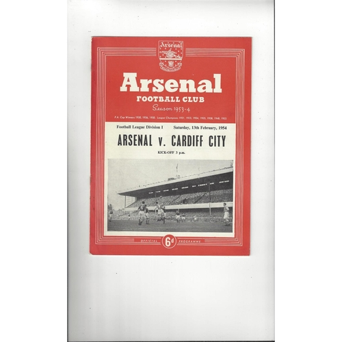 1953/54 Arsenal v Cardiff City Football Programme