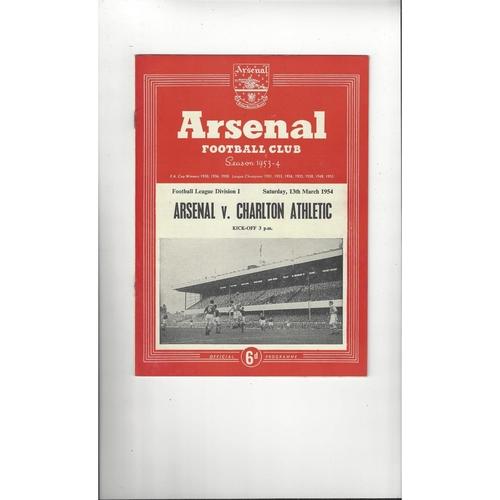 1953/54 Arsenal v Charlton Athletic Football Programme