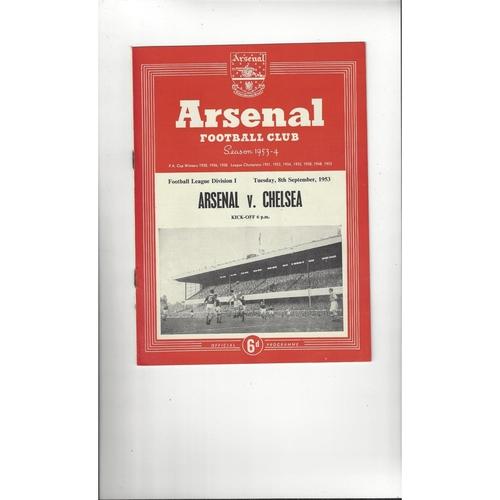 1953/54 Arsenal v Chelsea Football Programme
