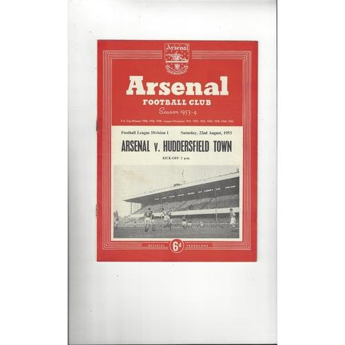 1953/54 Arsenal v Huddersfield Town Football Programme