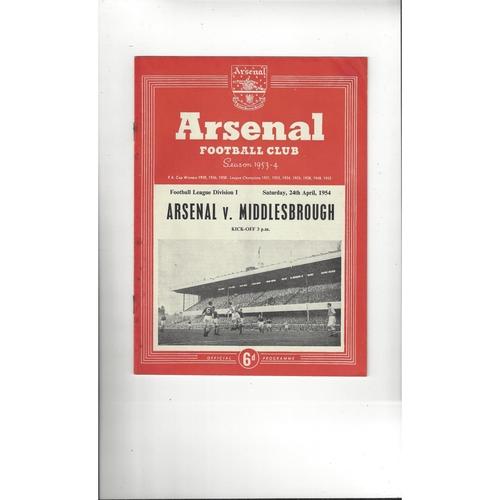 1953/54 Arsenal v Middlesbrough Football Programme
