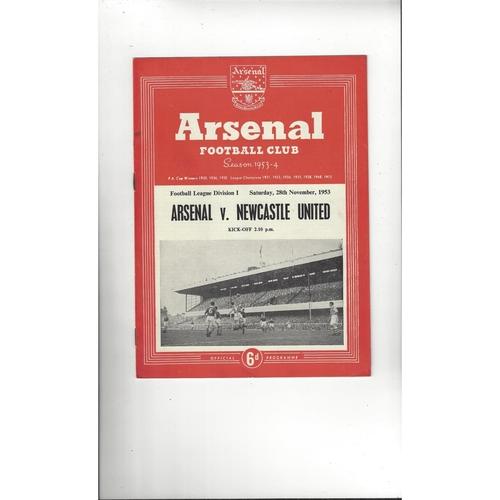 1953/54 Arsenal v Newcastle United Football Programme