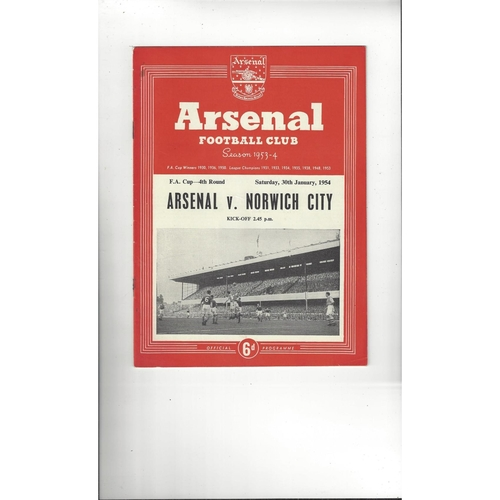 1953/54 Arsenal v Norwich City FA Cup Football Programme