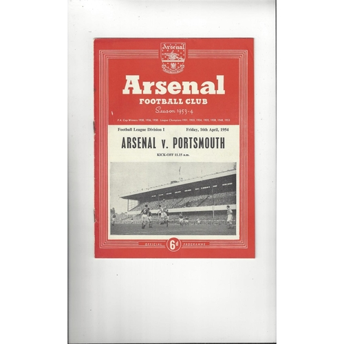 1953/54 Arsenal v Portsmouth Football Programme