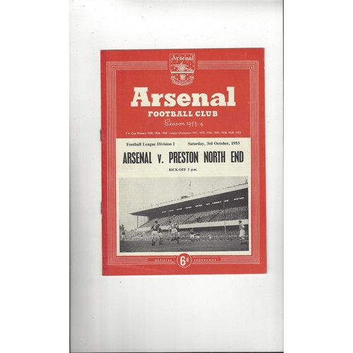 1953/54 Arsenal v Preston Football Programme