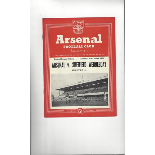 1953/54 Arsenal v Sheffield Wednesday Football Programme