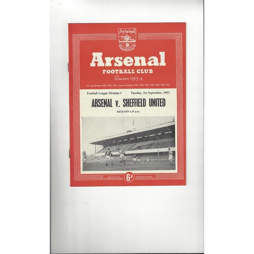 1953/54 Arsenal v Sheffield United Football Programme