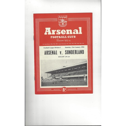 1953/54 Arsenal v Sunderland Football Programme