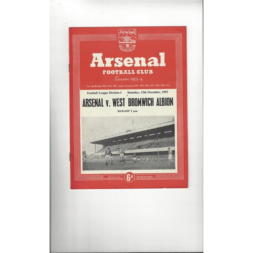 1953/54 Arsenal v West Bromwich Albion Football Programme