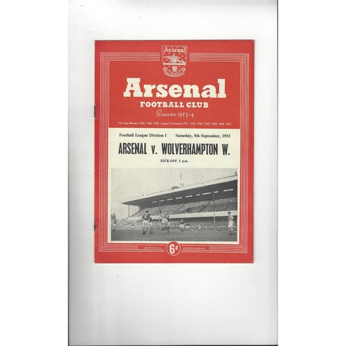 1953/54 Arsenal v Wolves Football Programme