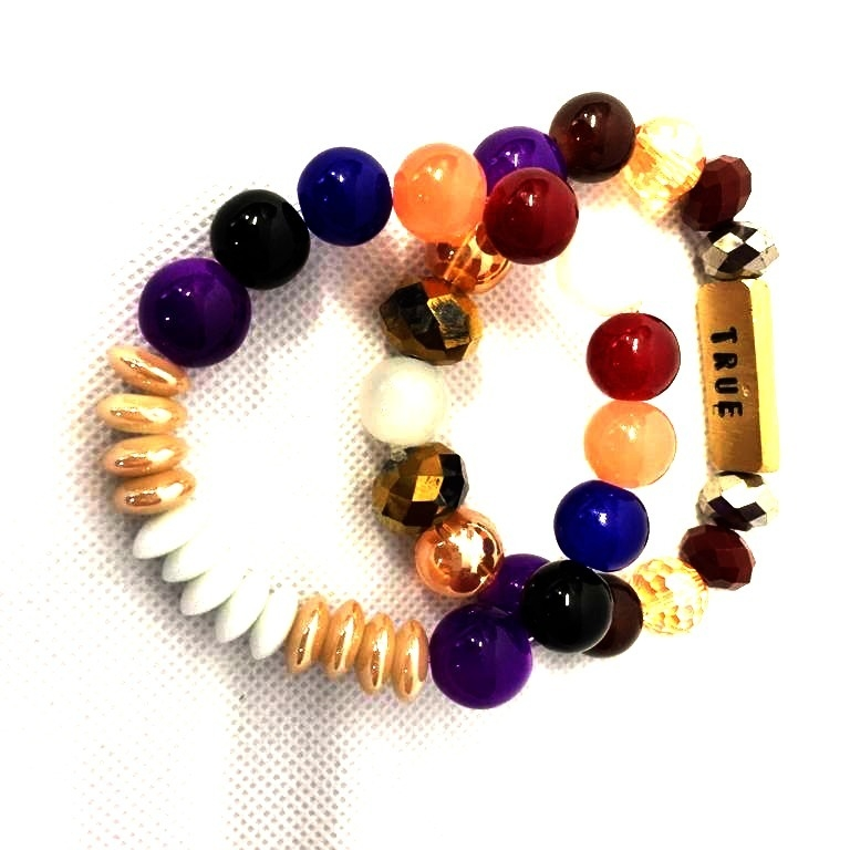 True Multi Coloured Handmade Bead Bangles