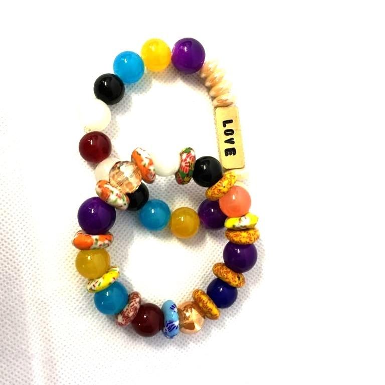 Love Multi Coloured Handmade Bead Bangles