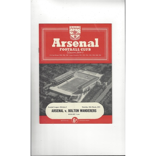 1954/55 Arsenal v Bolton Wanderers Football Programme