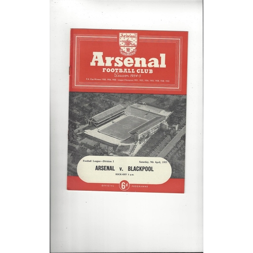 1954/55 Arsenal v Blackpool Football Programme