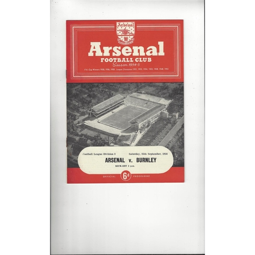 1954/55 Arsenal v Burnley Football Programme
