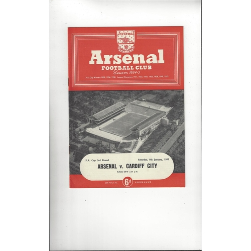 1954/55 Arsenal v Cardiff City FA Cup Football Programme