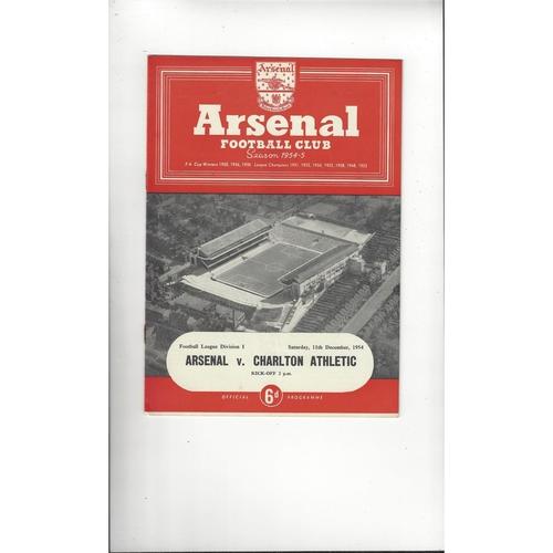 1954/55 Arsenal v Charlton Athletic Football Programme