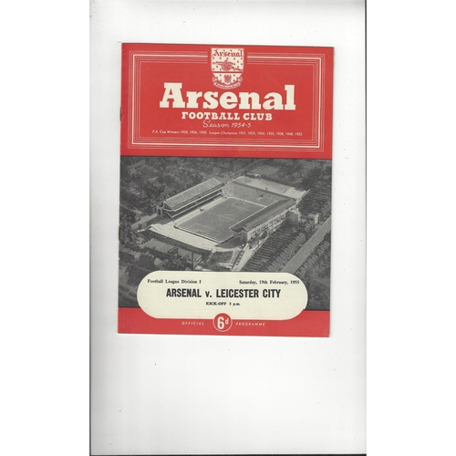 1954/55 Arsenal v Leicester City Football Programme