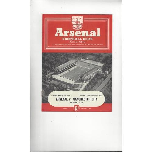 1954/55 Arsenal v Manchester City Football Programme