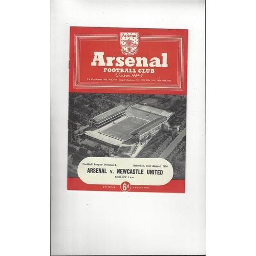 1954/55 Arsenal v Newcastle United Football Programme