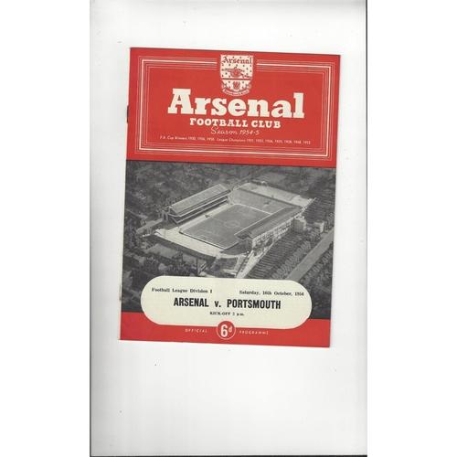 1954/55 Arsenal v Portsmouth Football Programme