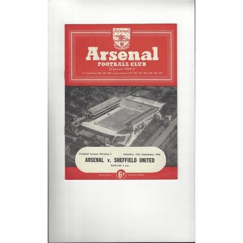 1954/55 Arsenal v Sheffield United Football Programme