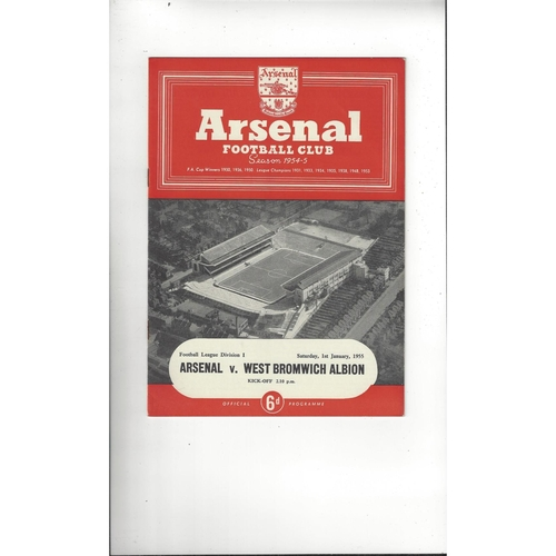 1954/55 Arsenal v West Bromwich Albion Football Programme