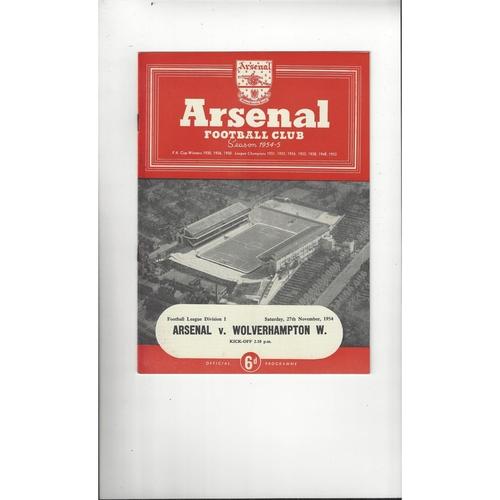 1954/55 Arsenal v Wolves Football Programme