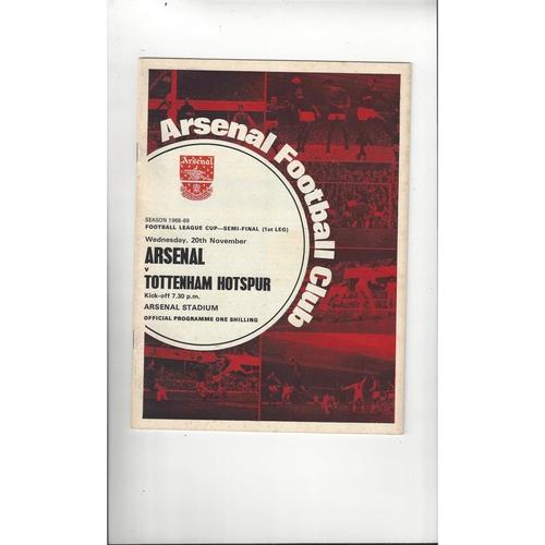 1968/69 Arsenal v Tottenham Hotspur League Cup Semi Final Football Programme