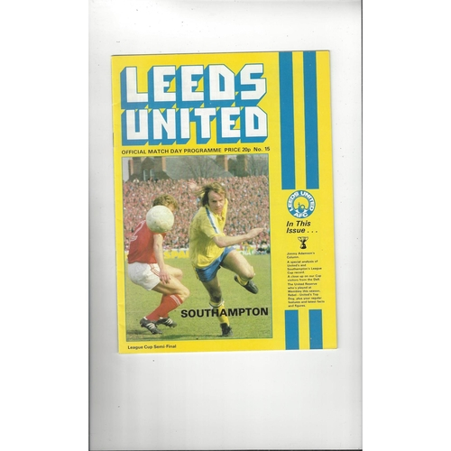 1978/79 Leeds v Southampton League Cup Semi Final Football Programme