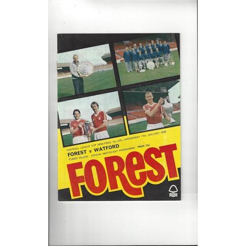 1978/79 Nottingham Forest v Watford League Cup Semi Final Football Programme