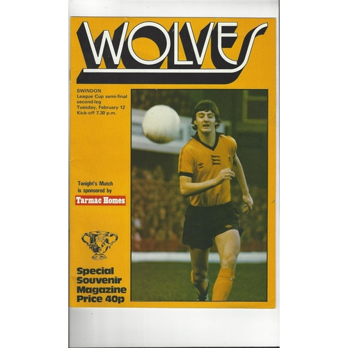 1979/80 Wolves v Swindon Town League Cup Semi Final Football Programme