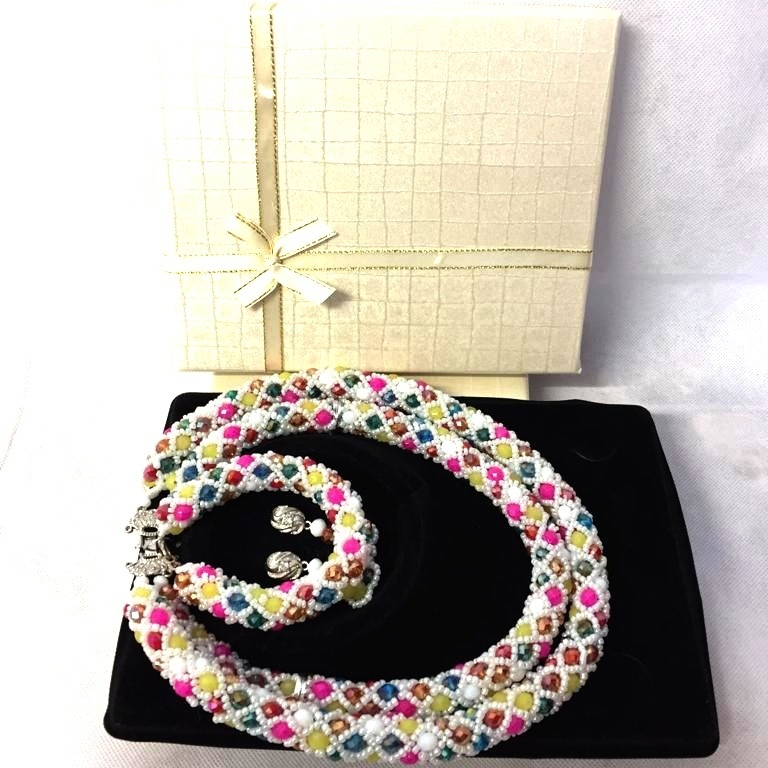 ZD - Bride Multi Coloured Handmade Bead Necklace