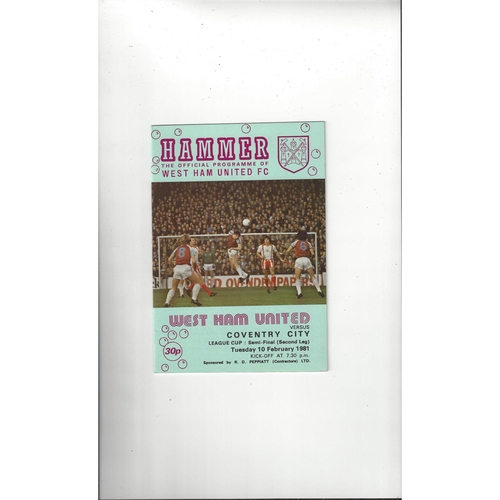 1980/81 West Ham United v Coventry City League Cup Semi Final Football Programme