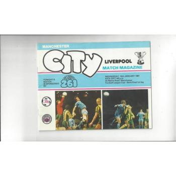 1980/81 Manchester City v Liverpool League Cup Semi Final Football Programme