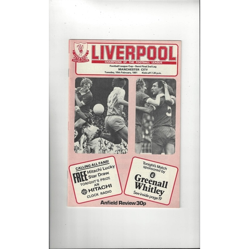 1980/81 Liverpool v Manchester City League Cup Semi Final Football Programme