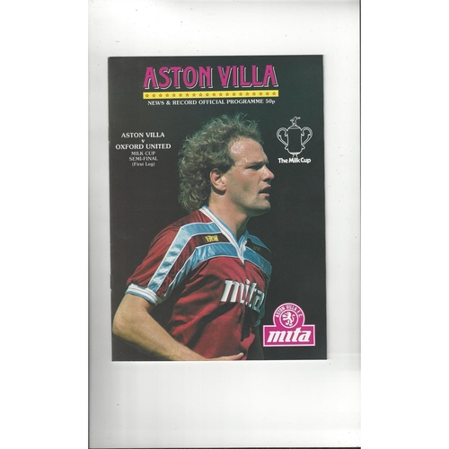 1985/86 Aston Villa v Oxford United League Cup Semi Final Football Programme