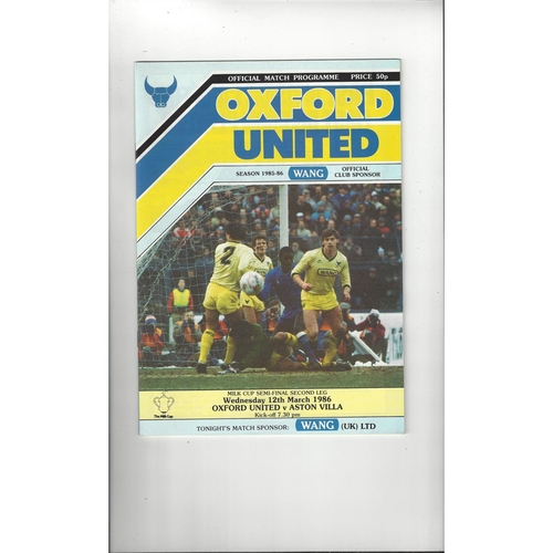 1985/86 Oxford United v Aston Villa League Cup Semi Final Football Programme