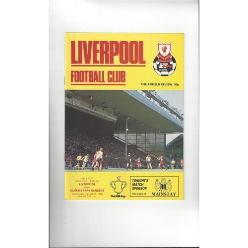 1985/86 Liverpool v Queens Park Rangers League Cup Semi Final Football Programme