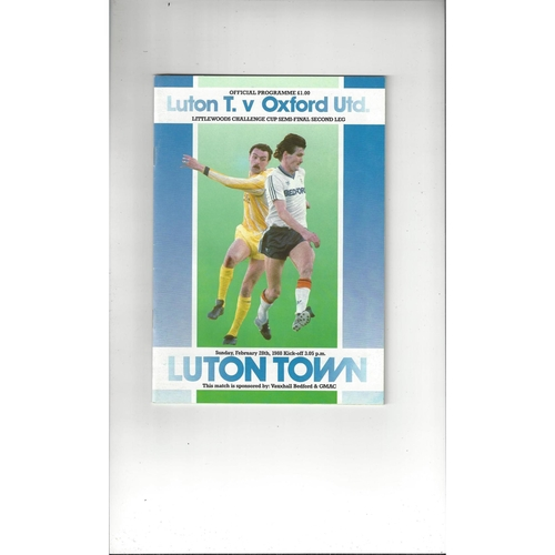 1987/88 Luton Town v Oxford United League Cup Semi Final Football Programme