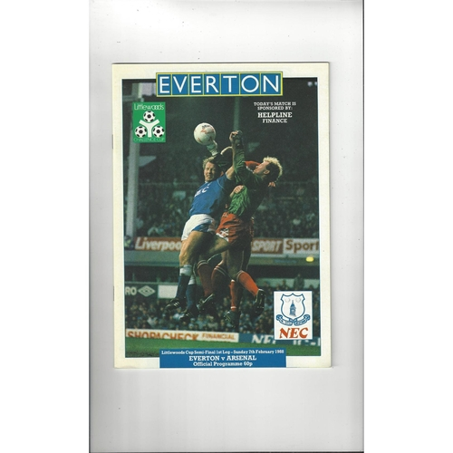 1987/88 Everton v Arsenal League Cup Semi Final Football Programme