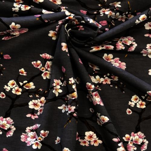 Cherry Blossom Grey Modal Jersey 0.86m Remnant