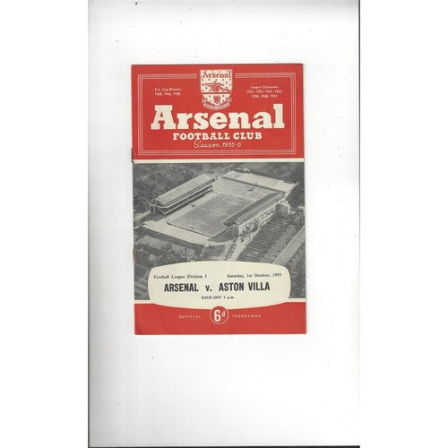 1955/56 Arsenal v Aston Villa Football Programme