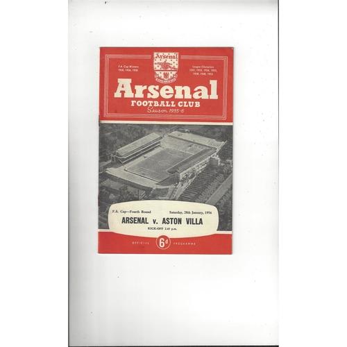 1955/56 Arsenal v Aston Villa FA Cup Football Programme