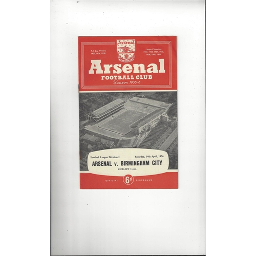 1955/56 Arsenal v Birmingham City Football Programme