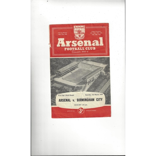 1955/56 Arsenal v Birmingham City FA Cup Football Programme