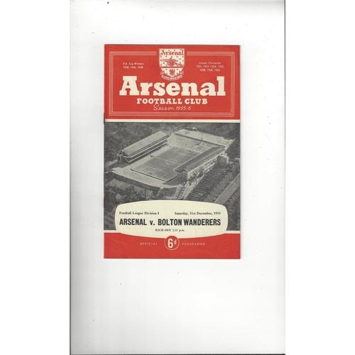 1955/56 Arsenal v Bolton Wanderers Football Programme