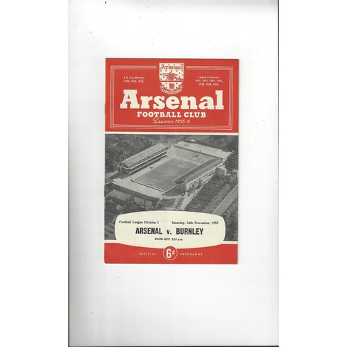 1955/56 Arsenal v Burnley Football Programme